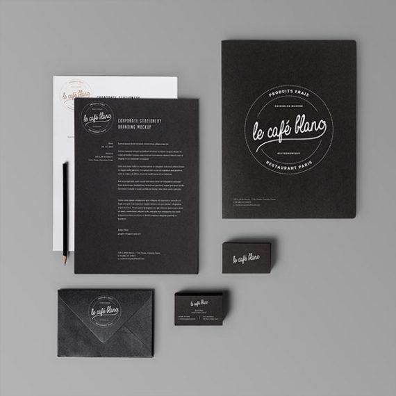 Portfolio identité visuelle pour café blanc